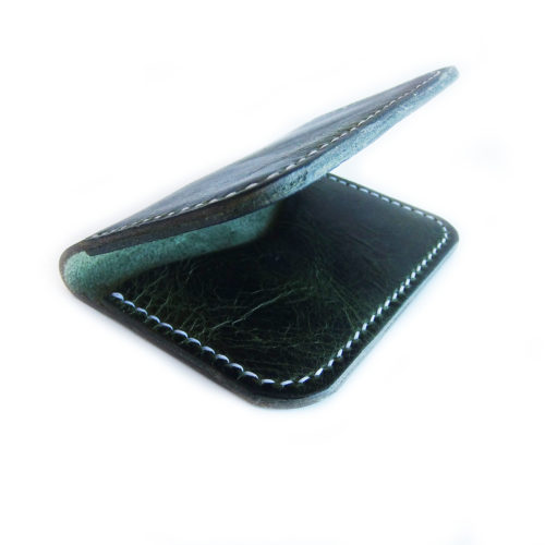 Green Leather Bi Fold Wallet
